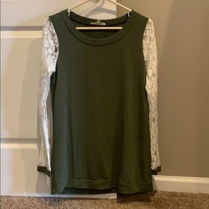 Small olive and lace sleeve top